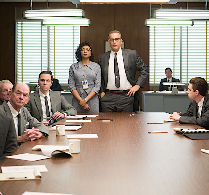 Jim Parsons, Taraji P. Henson, and Kevin Costner in Hidden Figures