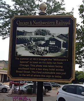 A historical marker for the Millionaire's Special.